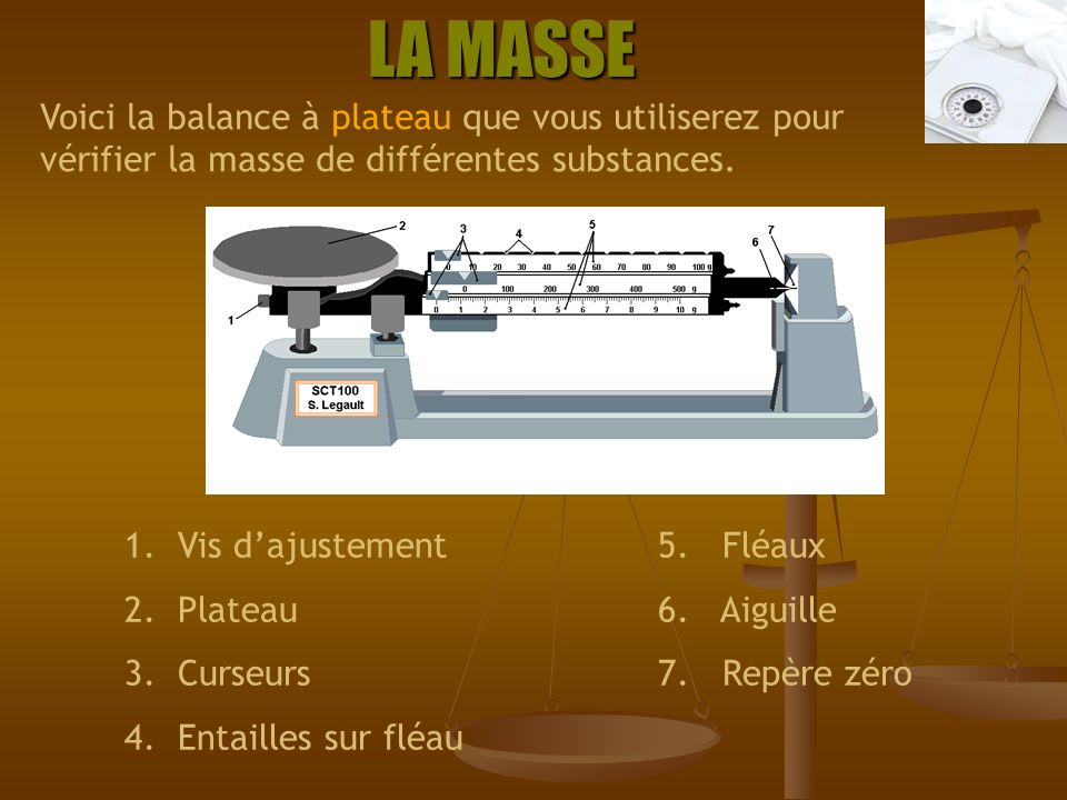 LA MASSE Voici la balance à plateau que vous utiliserez pour vérifier la masse de différentes substances.
