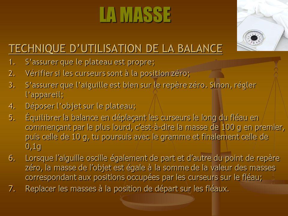 LA MASSE TECHNIQUE D'UTILISATION DE LA BALANCE