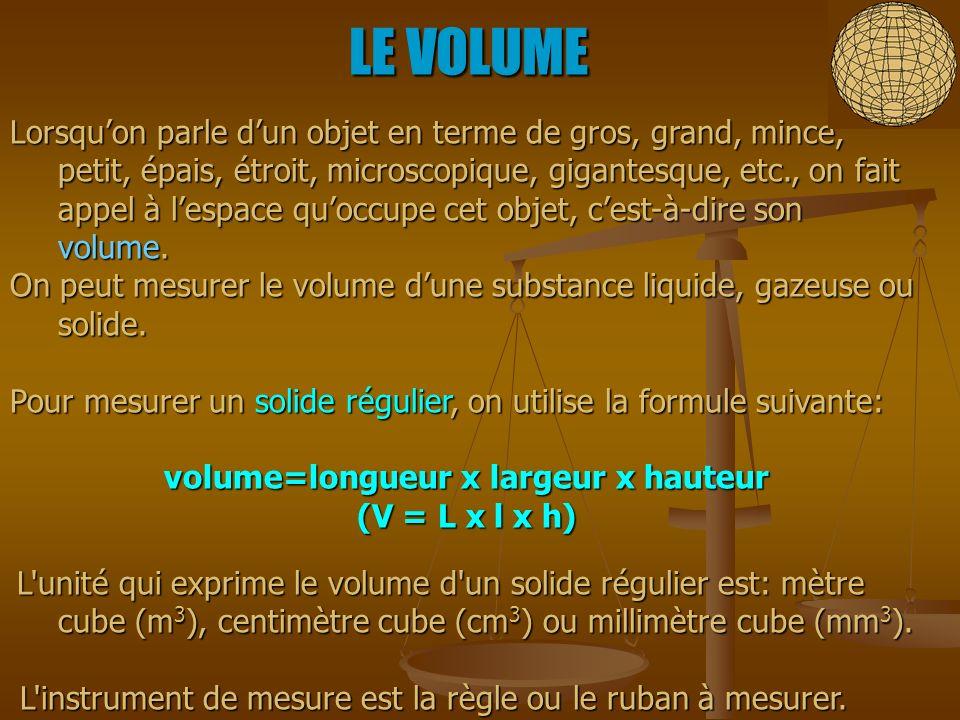 volume=longueur x largeur x hauteur