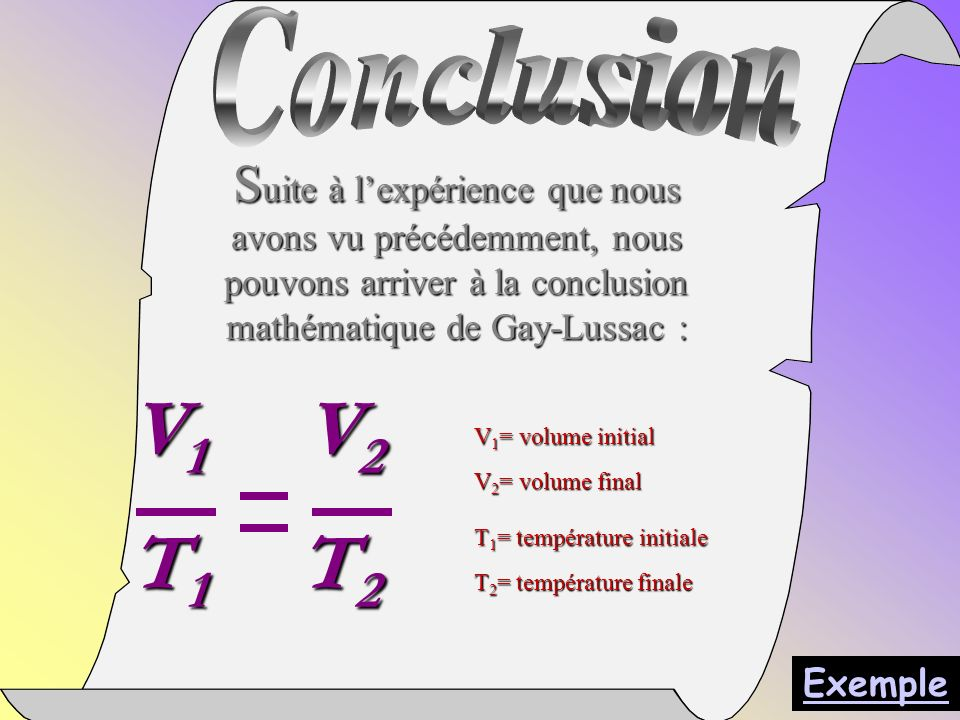 Conclusion Suite à l'expérience que nous avons vu précédemment, nous pouvons arriver à la conclusion mathématique de Gay-Lussac :