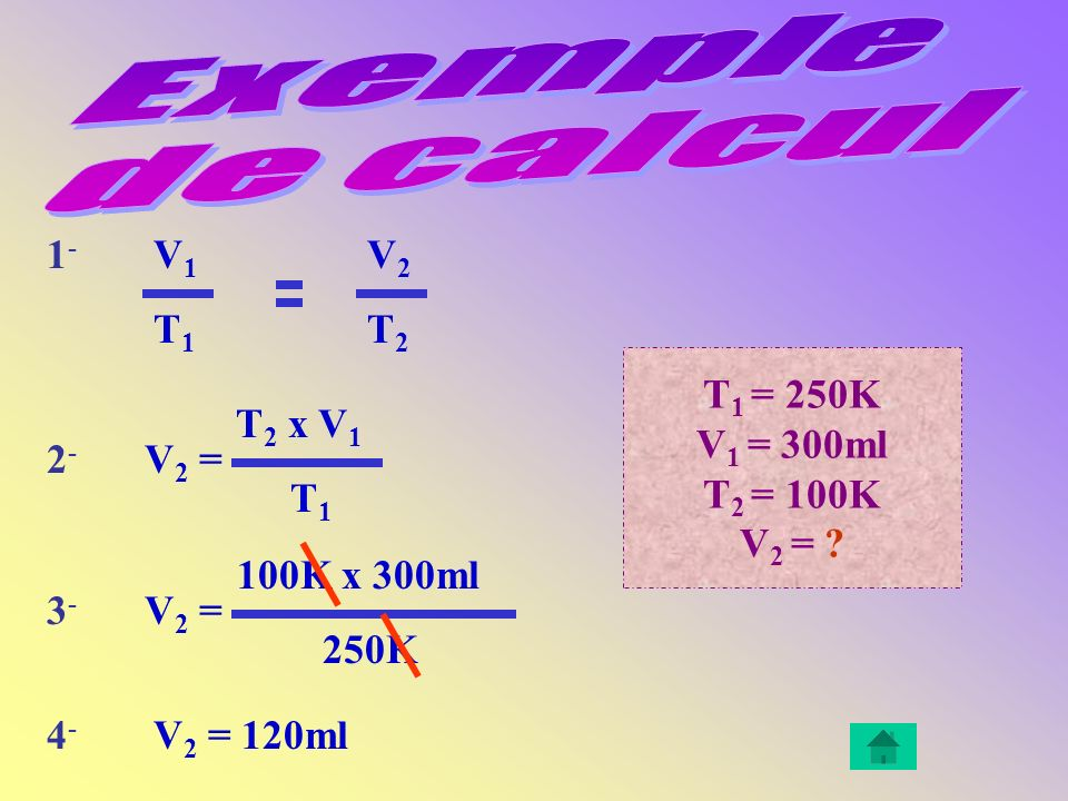 Exemple de calcul 1- V1 V2 T1 T2 T1 = 250K V1 = 300ml T2 = 100K V2 =