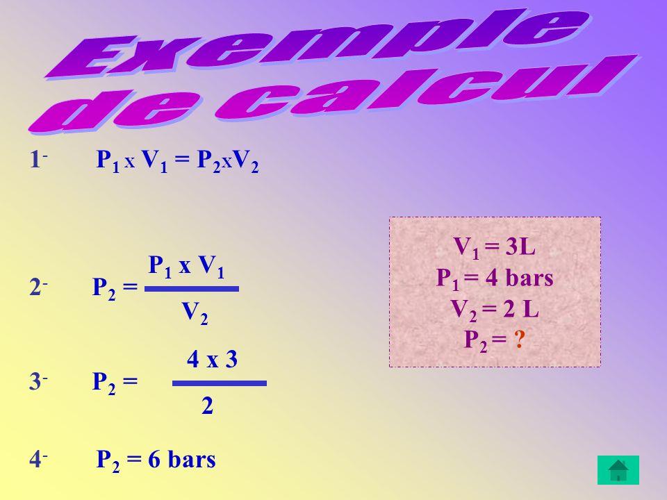 Exemple de calcul 1- P1 X V1 = P2XV2 V1 = 3L P1 = 4 bars V2 = 2 L
