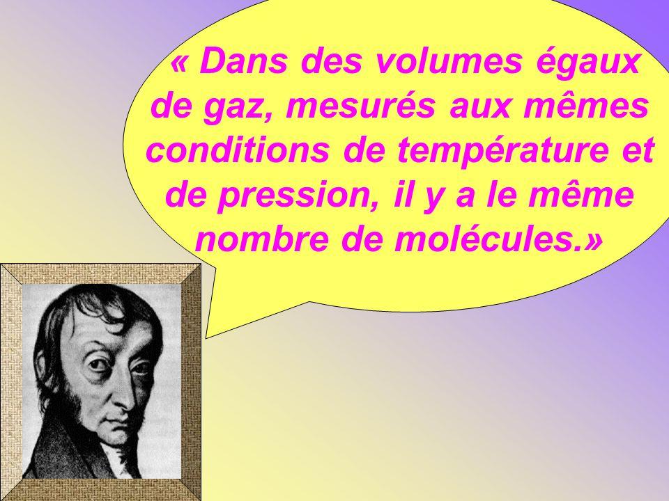 « Dans des volumes égaux de gaz, mesurés aux mêmes conditions de température et de pression, il y a le même nombre de molécules.»
