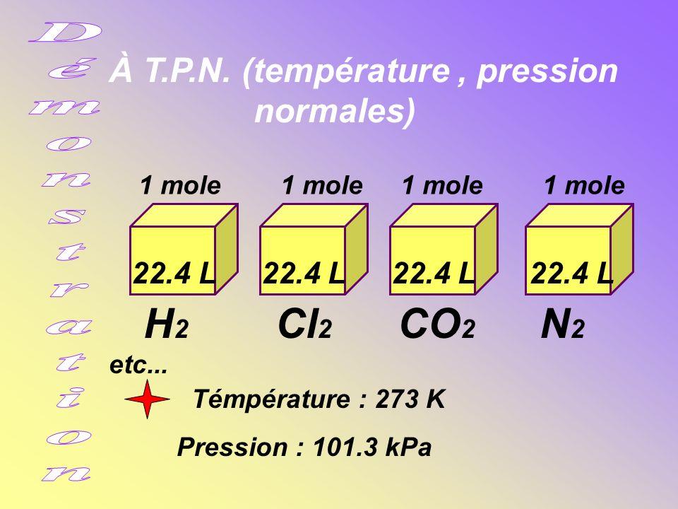 H2 Cl2 CO2 N2 etc... À T.P.N. (température , pression normales)