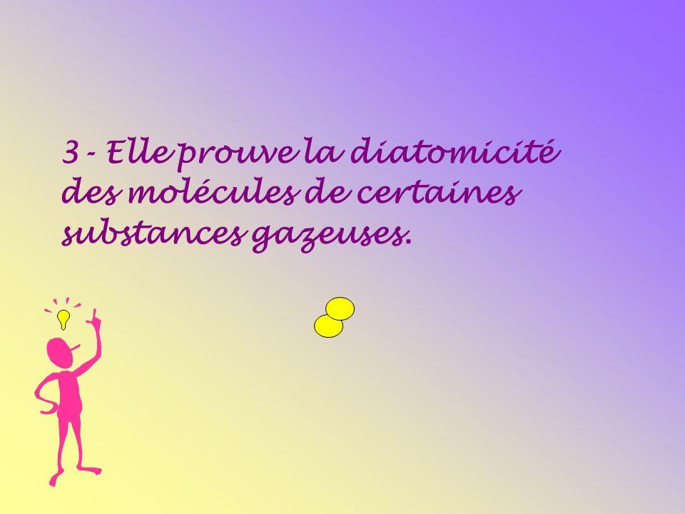 3- Elle prouve la diatomicité des molécules de certaines substances gazeuses.