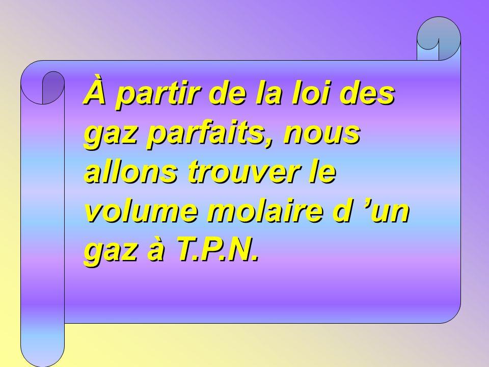 À partir de la loi des gaz parfaits, nous allons trouver le volume molaire d 'un gaz à T.P.N.