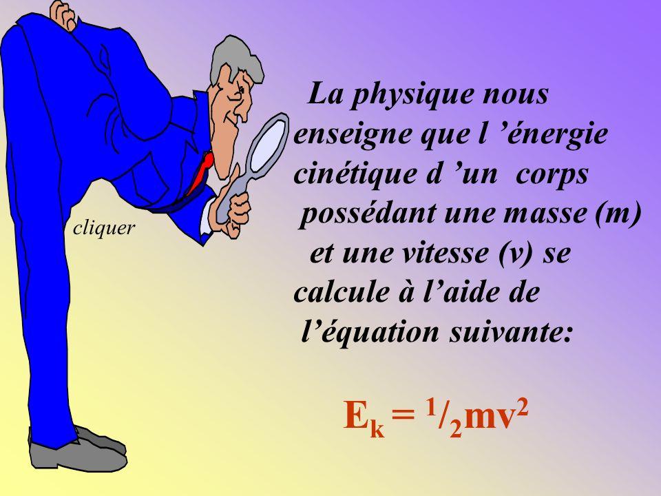 enseigne que l 'énergie cinétique d 'un corps possédant une masse (m)