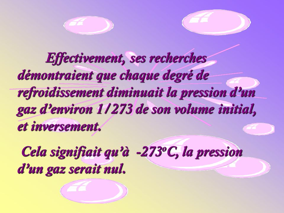 Effectivement, ses recherches démontraient que chaque degré de refroidissement diminuait la pression d'un gaz d'environ 1/273 de son volume initial, et inversement.