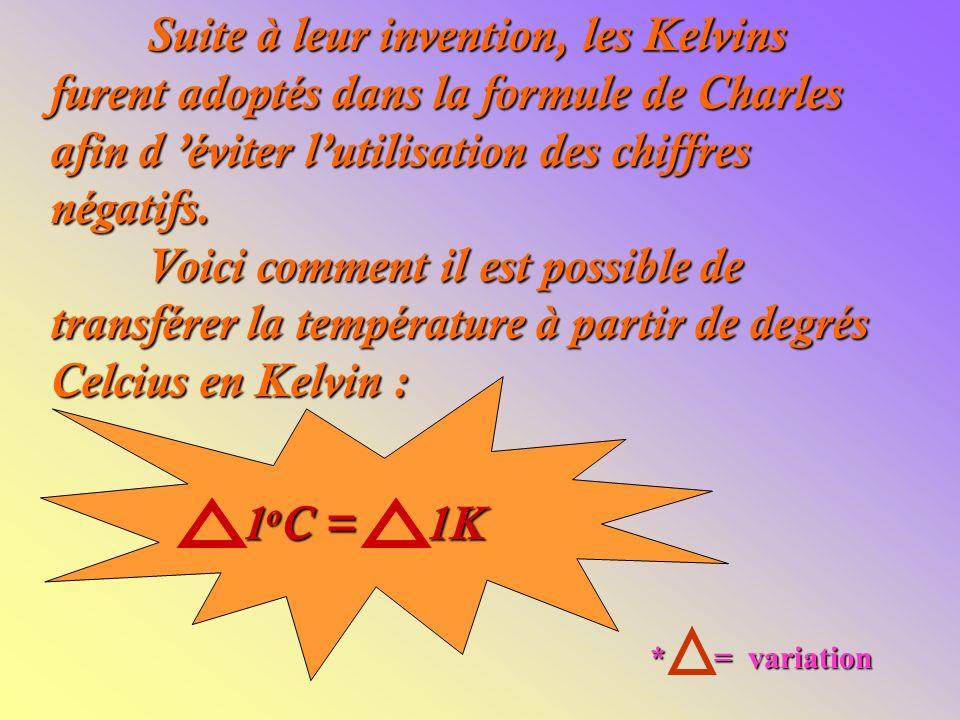Suite à leur invention, les Kelvins furent adoptés dans la formule de Charles afin d 'éviter l'utilisation des chiffres négatifs. Voici comment il est possible de transférer la température à partir de degrés Celcius en Kelvin :