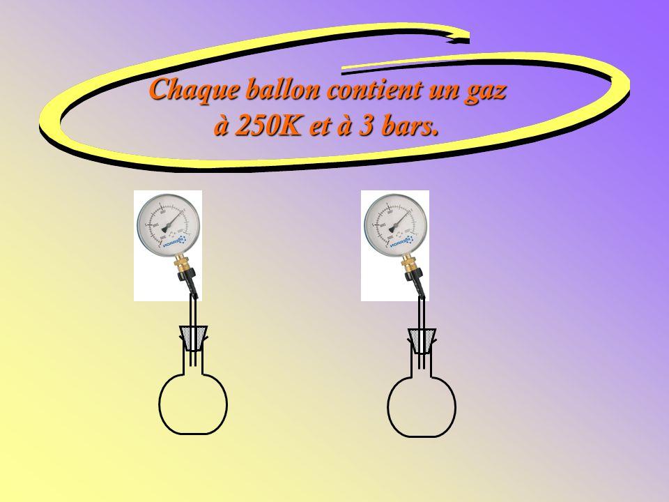 Chaque ballon contient un gaz à 250K et à 3 bars.