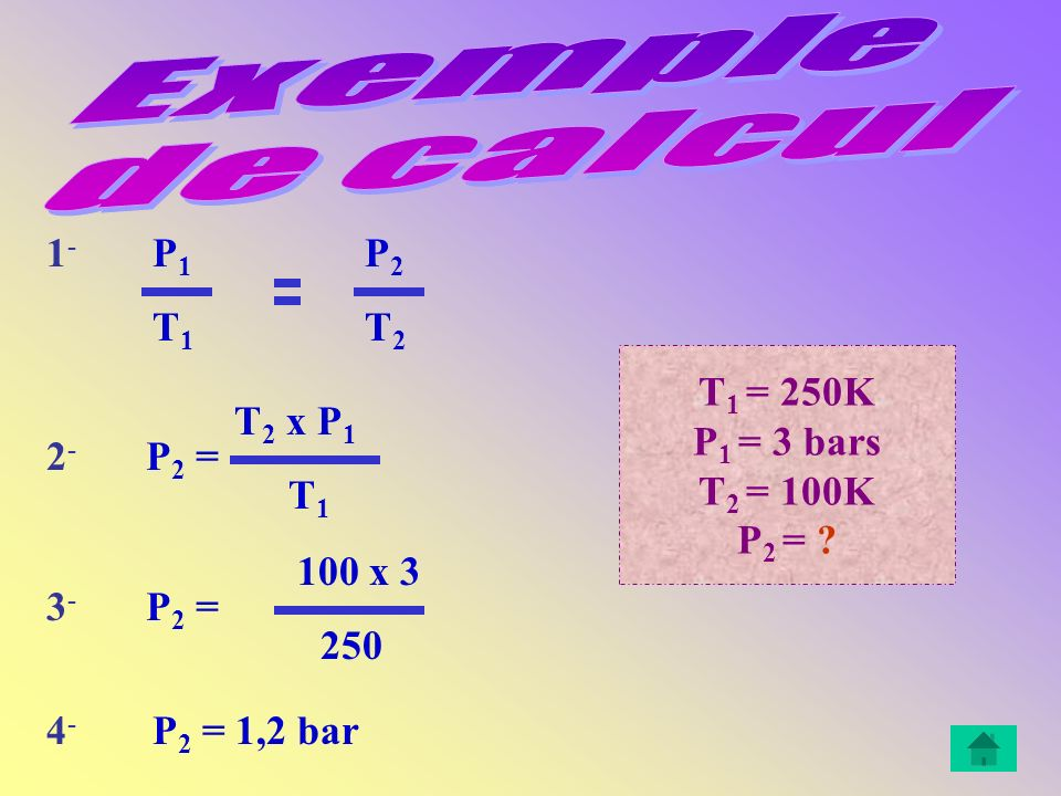 Exemple de calcul 1- P1 P2 T1 T2 T1 = 250K P1 = 3 bars T2 = 100K