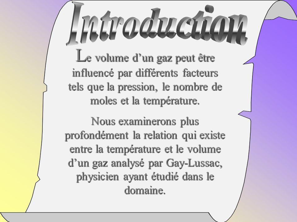 Introduction Le volume d'un gaz peut être influencé par différents facteurs tels que la pression, le nombre de moles et la température.