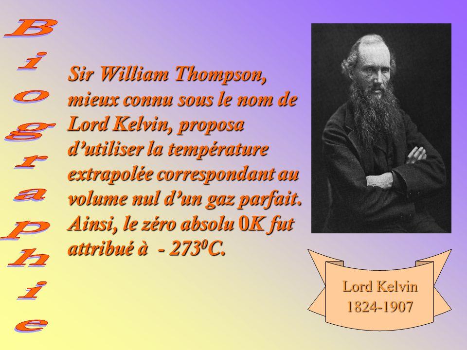 Sir William Thompson, mieux connu sous le nom de Lord Kelvin, proposa d'utiliser la température extrapolée correspondant au volume nul d'un gaz parfait. Ainsi, le zéro absolu 0K fut attribué à - 2730C.