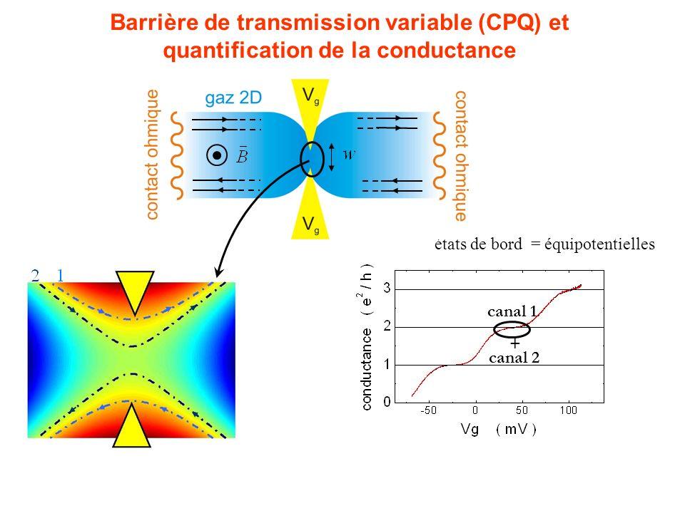 Barrière de transmission variable (CPQ) et quantification de la conductance