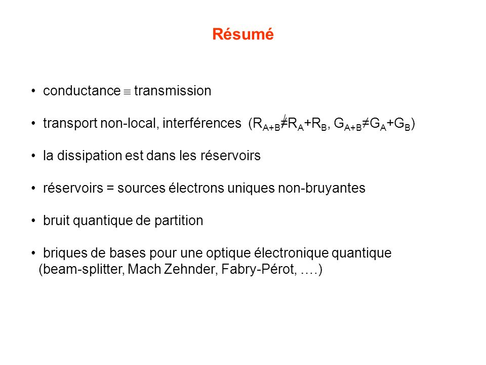 Résumé conductance  transmission
