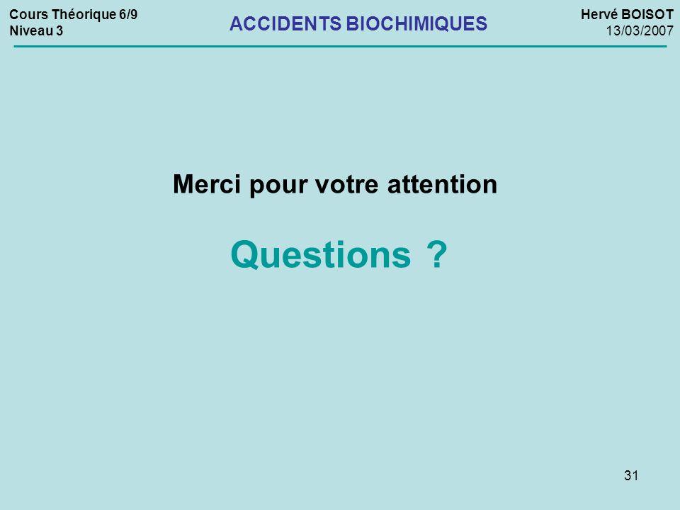 ACCIDENTS BIOCHIMIQUES Merci pour votre attention