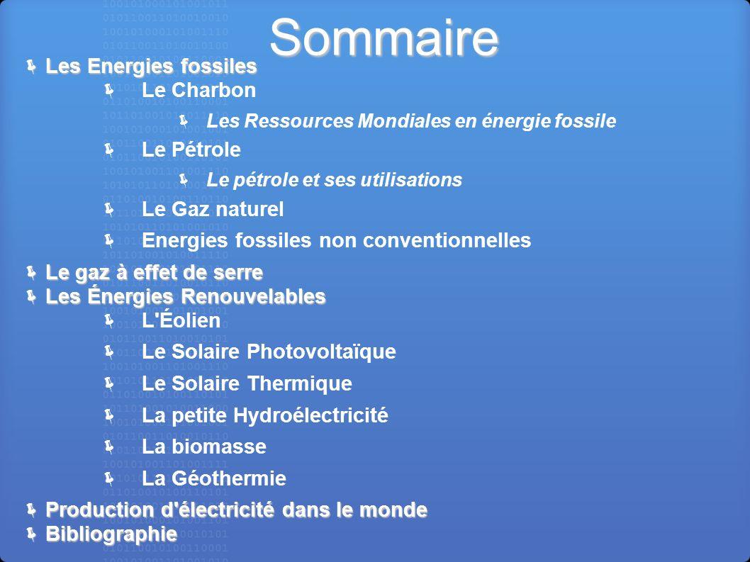 Sommaire Les Energies fossiles Le Charbon Le Pétrole Le Gaz naturel