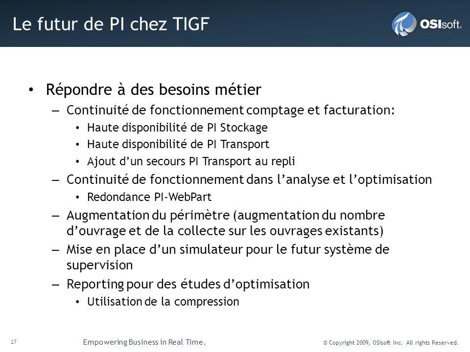 Le futur de PI chez TIGF Répondre à des besoins métier