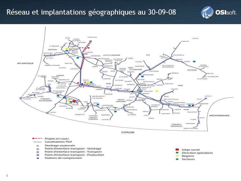Réseau et implantations géographiques au 30-09-08