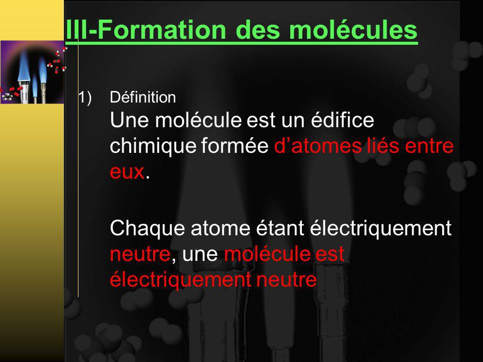 III-Formation des molécules