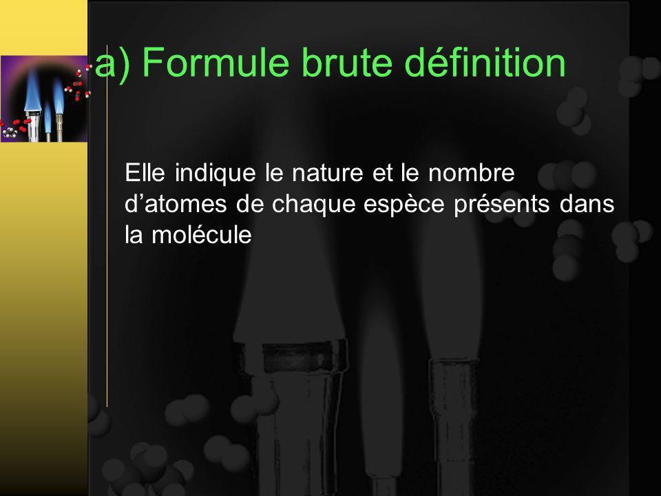 a) Formule brute définition