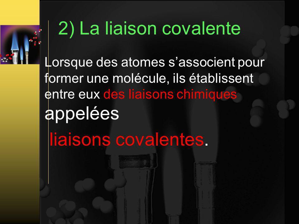 2) La liaison covalente liaisons covalentes.