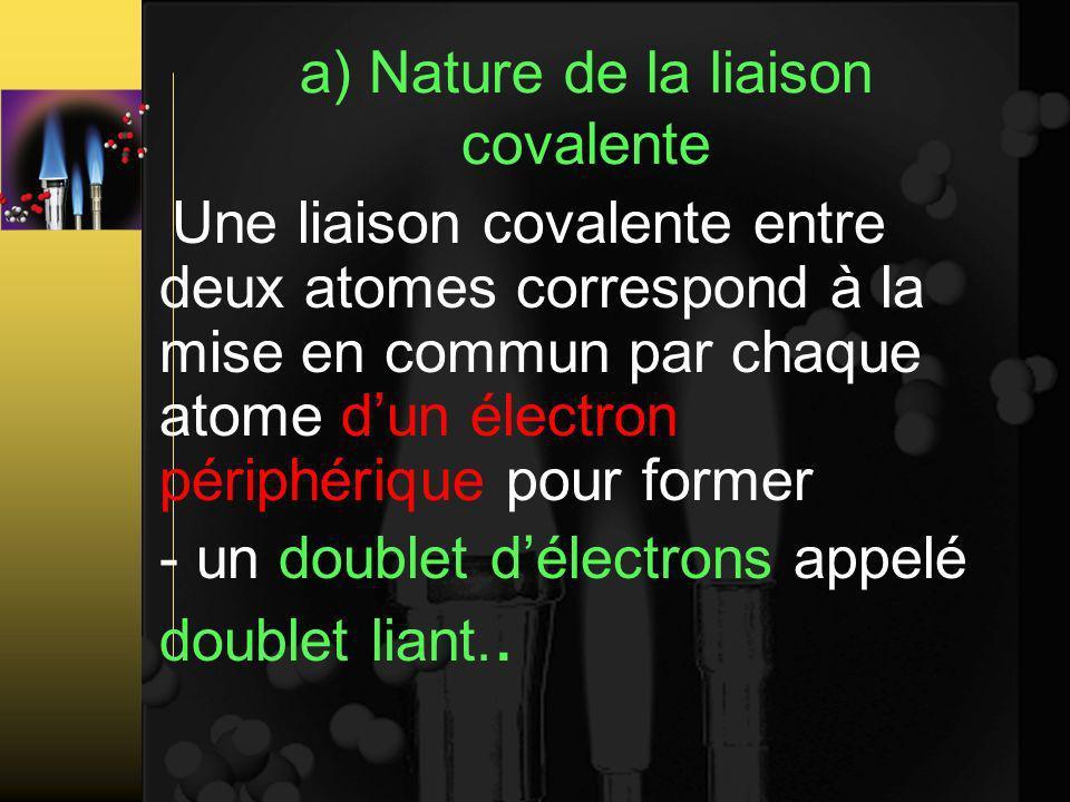 a) Nature de la liaison covalente