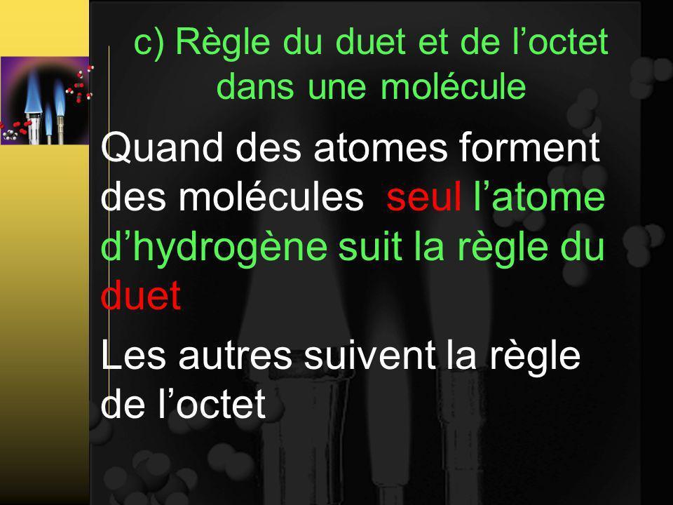 c) Règle du duet et de l'octet dans une molécule