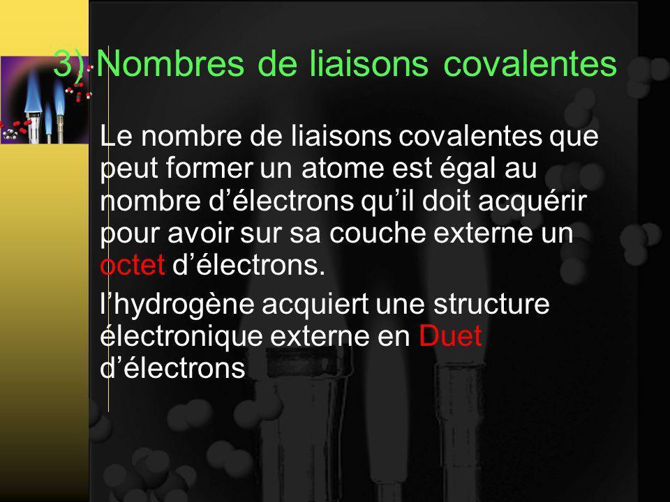 3) Nombres de liaisons covalentes