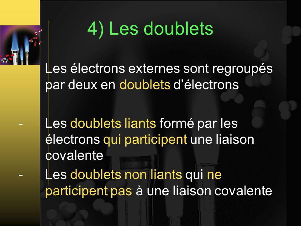 4) Les doublets Les électrons externes sont regroupés par deux en doublets d'électrons.