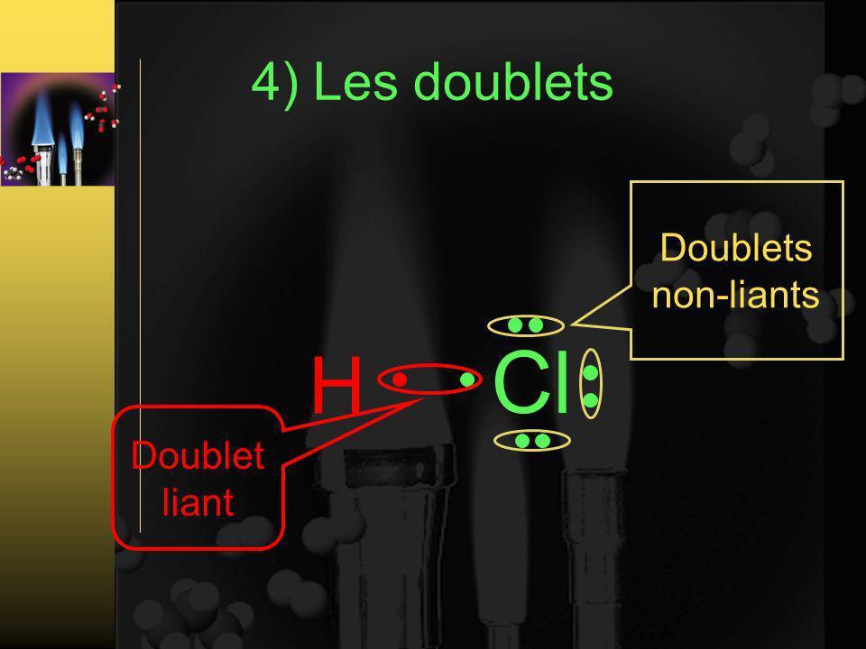 4) Les doublets Doublets non-liants Cl H Doublet liant