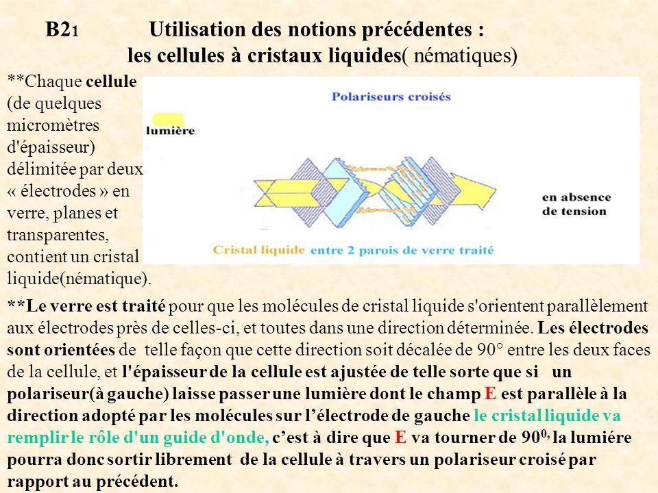 B21 Utilisation des notions précédentes : les cellules à cristaux liquides( nématiques)