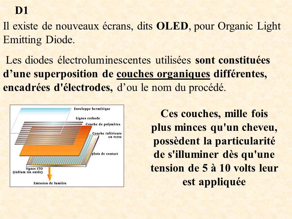 D1 Il existe de nouveaux écrans, dits OLED, pour Organic Light Emitting Diode.