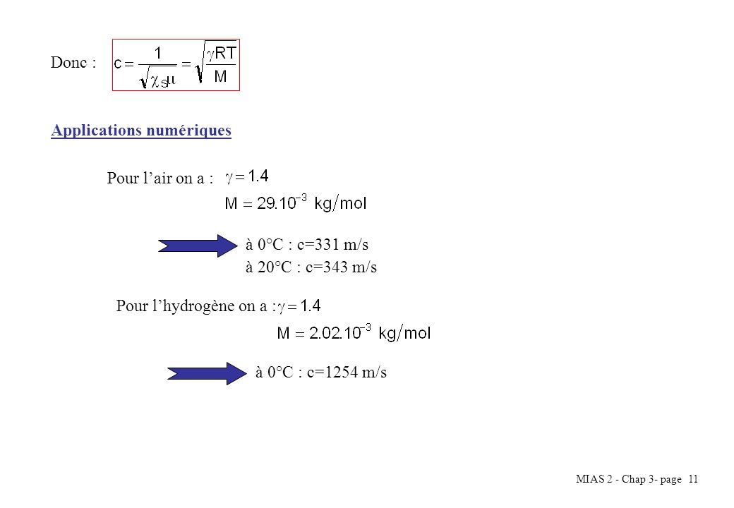 Donc : Applications numériques. Pour l'air on a : à 0°C : c=331 m/s. à 20°C : c=343 m/s. Pour l'hydrogène on a :