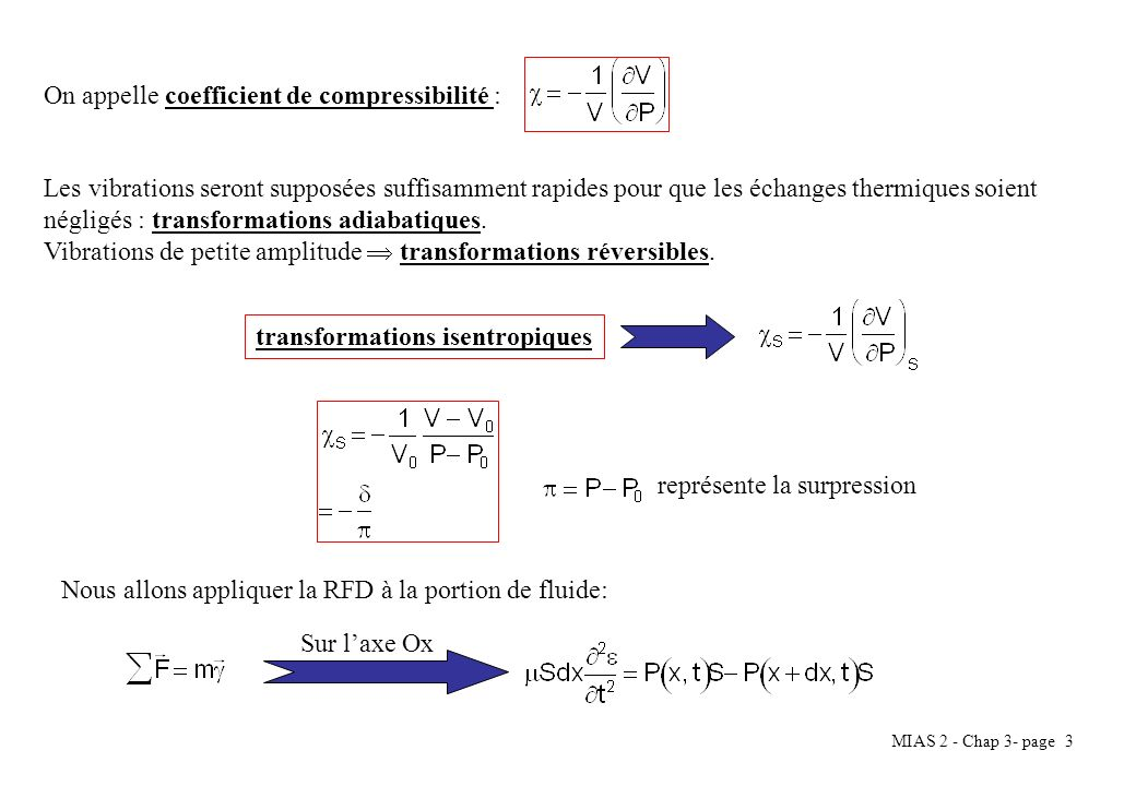On appelle coefficient de compressibilité :