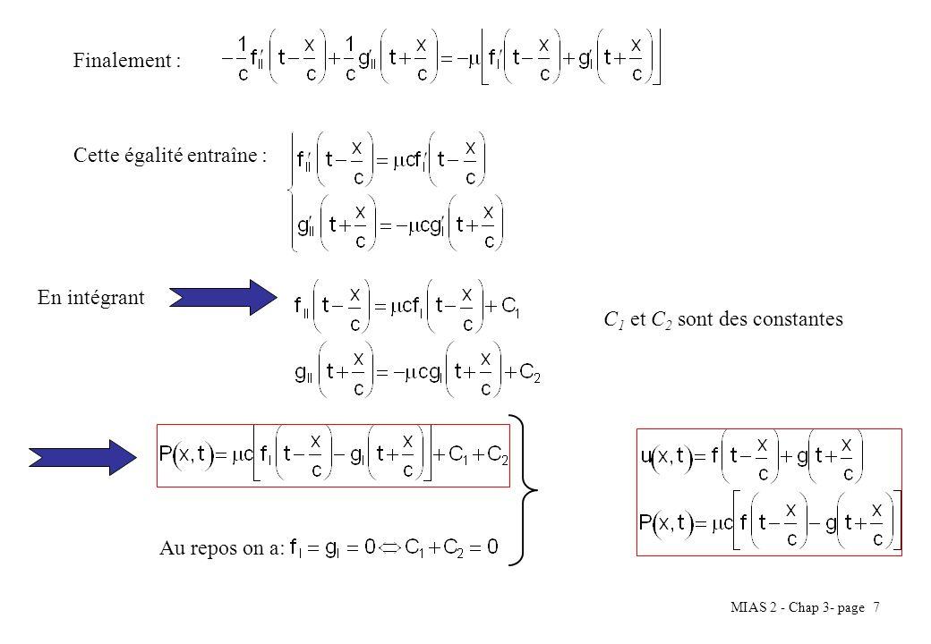 Finalement : Cette égalité entraîne : En intégrant C1 et C2 sont des constantes Au repos on a: