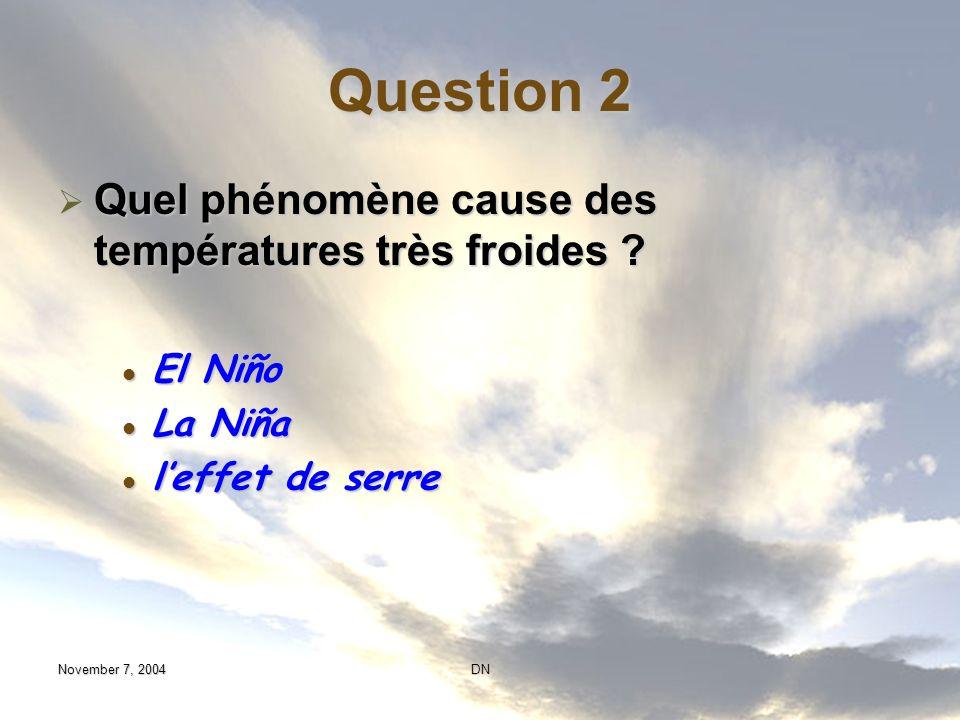 Question 2 Quel phénomène cause des températures très froides