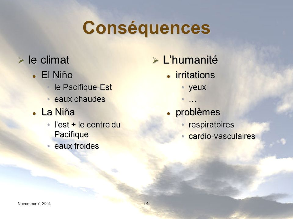 Conséquences le climat L'humanité El Niño La Niña irritations