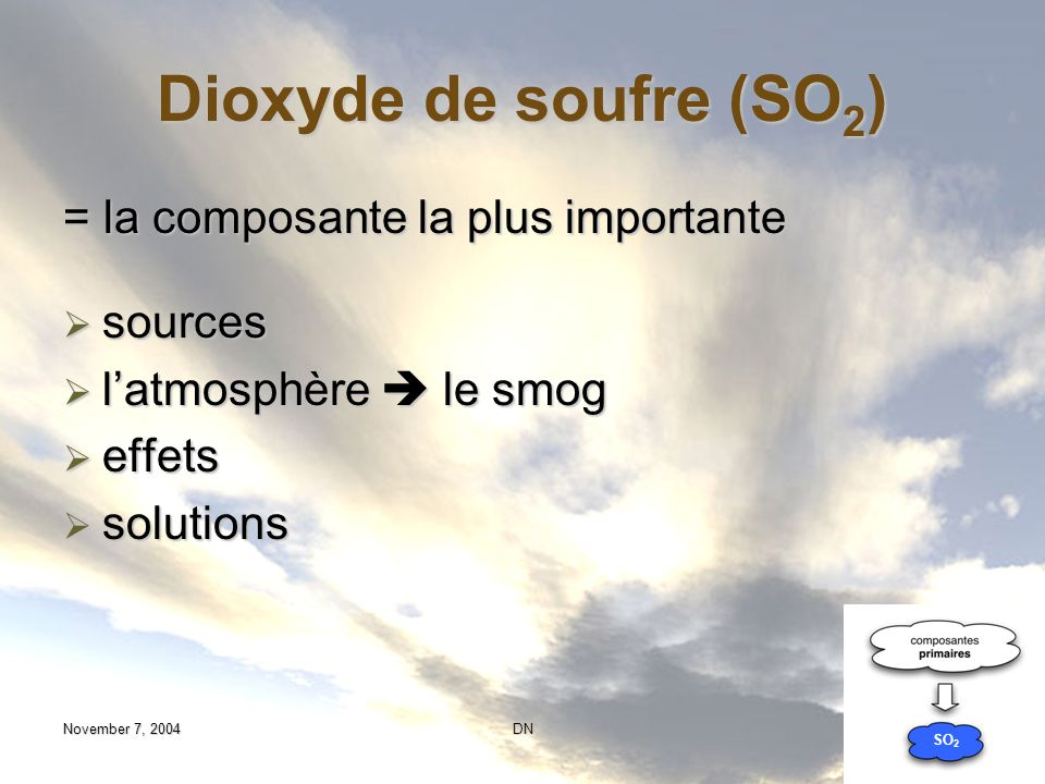 Dioxyde de soufre (SO2) = la composante la plus importante sources