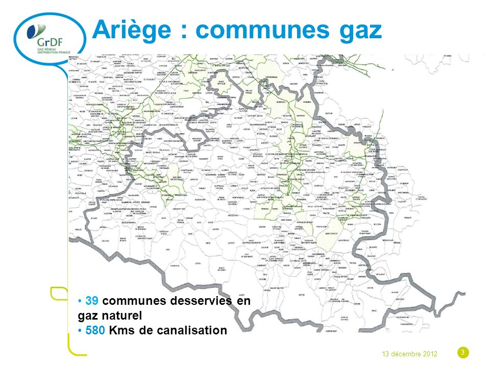 Ariège : communes gaz 39 communes desservies en gaz naturel