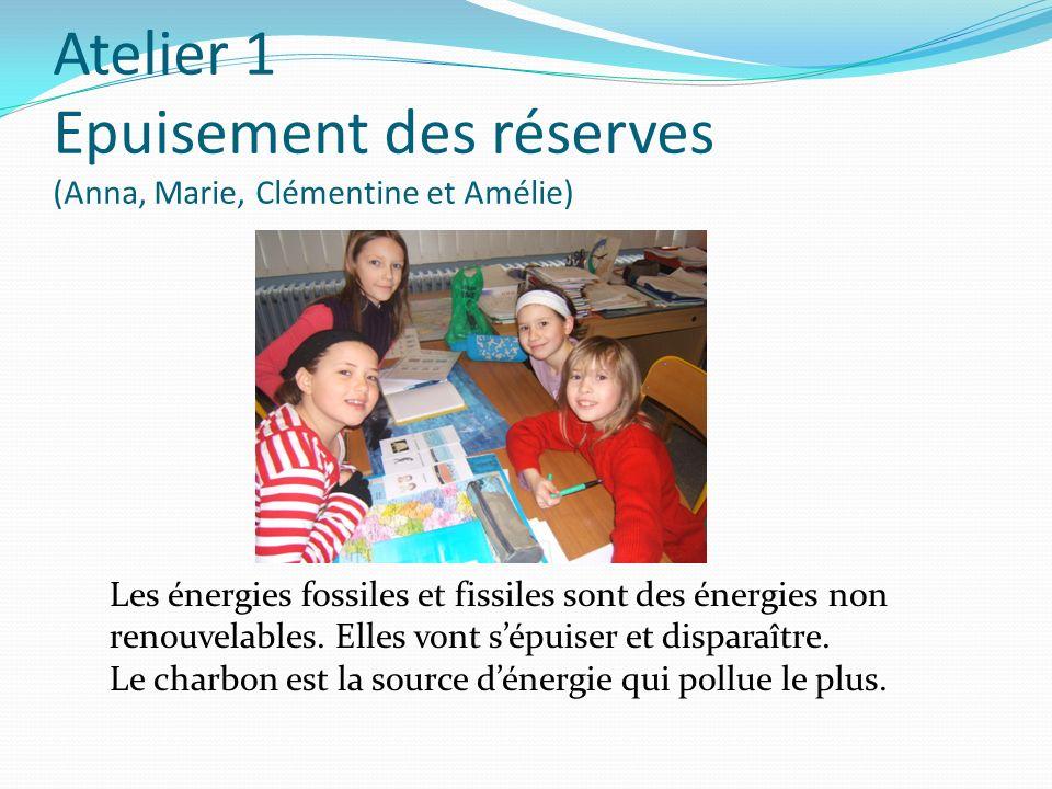 Atelier 1 Epuisement des réserves (Anna, Marie, Clémentine et Amélie)