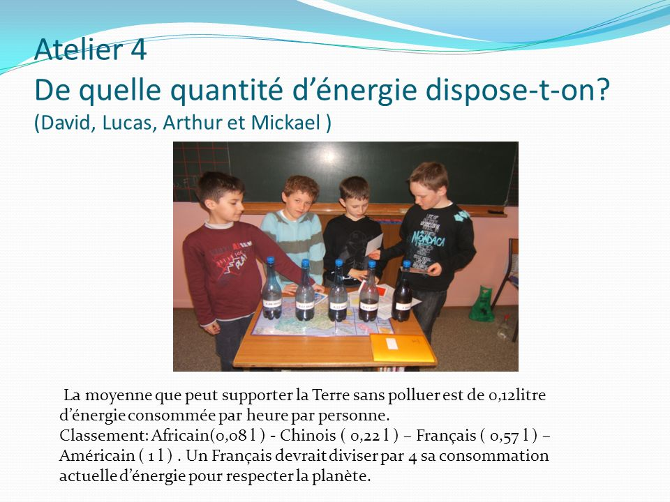 Atelier 4 De quelle quantité d'énergie dispose-t-on
