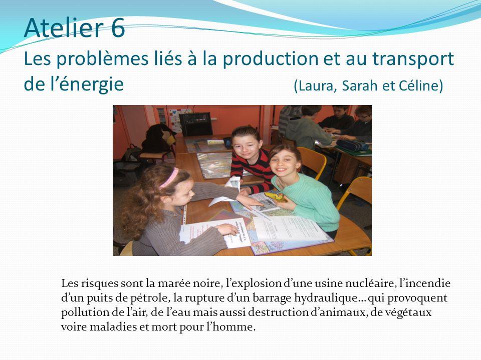 Atelier 6 Les problèmes liés à la production et au transport de l'énergie (Laura, Sarah et Céline)