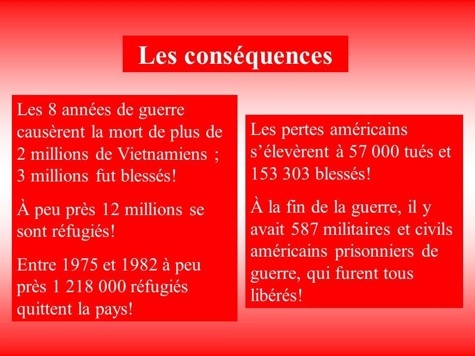 Les conséquences Les 8 années de guerre causèrent la mort de plus de 2 millions de Vietnamiens ; 3 millions fut blessés!