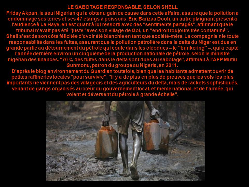 LE SABOTAGE RESPONSABLE, SELON SHELL