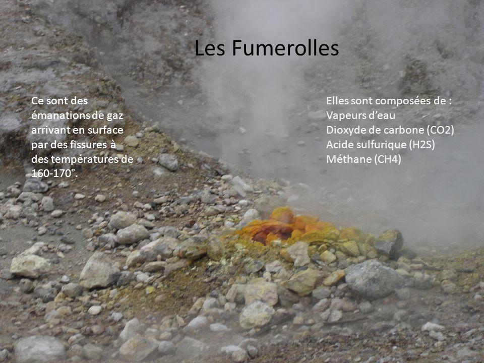Les Fumerolles Ce sont des émanations de gaz arrivant en surface par des fissures à des températures de 160-170°.