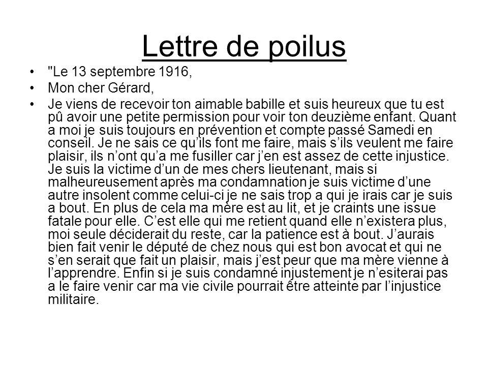 Lettre de poilus Le 13 septembre 1916, Mon cher Gérard,