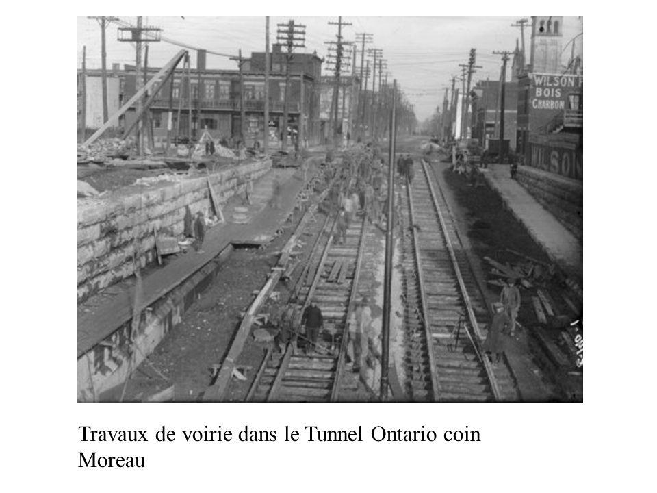Travaux de voirie dans le Tunnel Ontario coin Moreau
