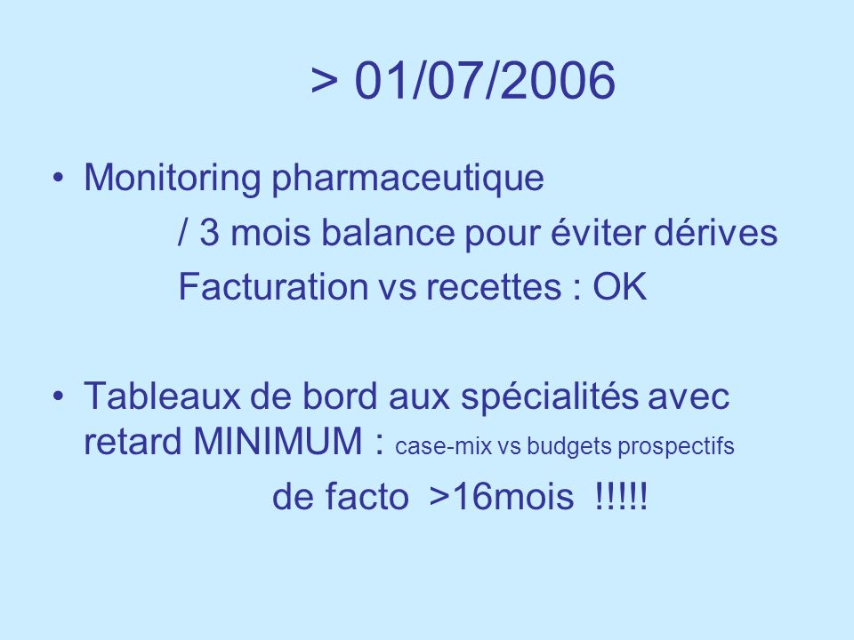 > 01/07/2006 Monitoring pharmaceutique