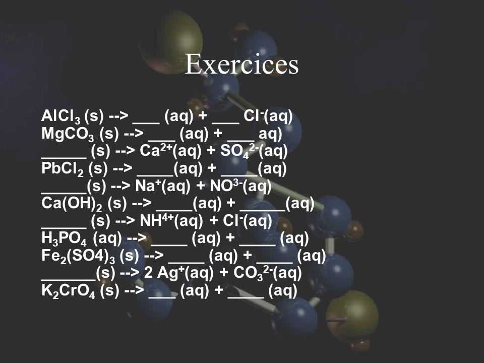 Exercices AlCl3 (s) --> ___ (aq) + ___ Cl-(aq)